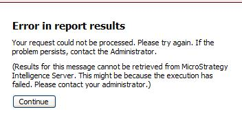Results cannot be retrieved error message